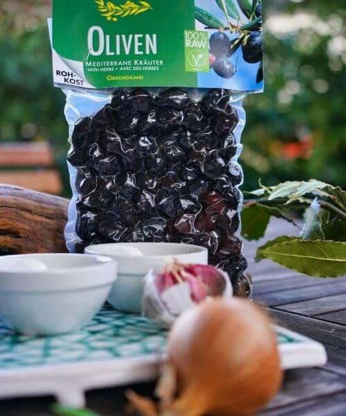 Vita Verde Bio Oliven mediterran Rohkostqualität Vakuumverpackt