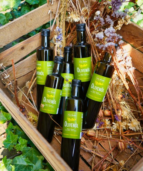 Bio Olivenöl 6 Flaschen 250ml in einer Holzkiste mit Deko 6er Set Verschenken Vorrat