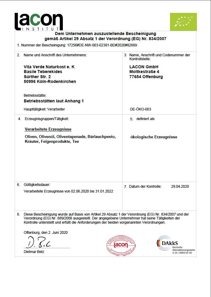 Bio-Zertifikat 2020 - 2022