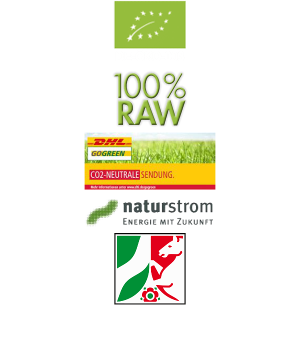 Freisteller Biologo, 100%Raw Logo, Go Green Dhl Logo, Naturstrom Logo, NRW Wappen Logo